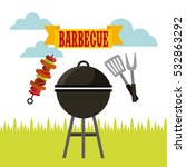 barbecue with grilled skewer ... | Shutterstock .eps vector #532863292