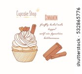 hand drawn cupcake with doodle... | Shutterstock .eps vector #532865776