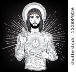 artwork of unconventional jesus ... | Shutterstock .eps vector #532884826