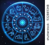 light symbols of zodiac and... | Shutterstock .eps vector #532885348