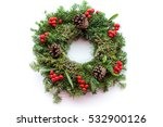 christmas wreath on white... | Shutterstock . vector #532900126