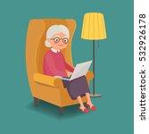 elderly woman sitting in a...   Shutterstock .eps vector #532926178