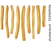 pieces of french fries isolated ... | Shutterstock . vector #532969036