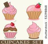 retro cupcakes set. vector... | Shutterstock .eps vector #53298868