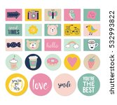 stylish hand drawn stickers and ...   Shutterstock .eps vector #532993822