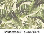 tropical palm leaves  jungle... | Shutterstock .eps vector #533001376