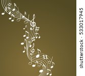 music notes on a brown... | Shutterstock .eps vector #533017945
