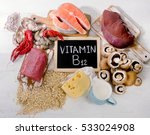 natural sources of vitamin b12  ... | Shutterstock . vector #533024908
