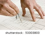 hand draws a pencil on the... | Shutterstock . vector #53303803
