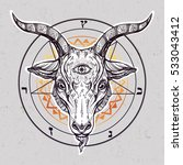 pentagram with demon baphomet.... | Shutterstock .eps vector #533043412
