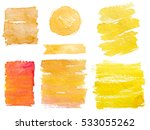 yellow watercolor textures. | Shutterstock . vector #533055262
