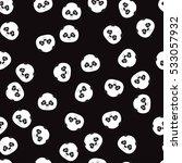 cute panda pattern on the black ... | Shutterstock .eps vector #533057932