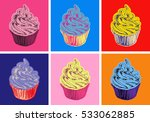 set of cupcake illustration pop ... | Shutterstock . vector #533062885