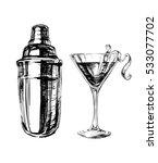 sketch cosmopolitan cocktails... | Shutterstock . vector #533077702