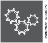 three gear sign simple icon on...