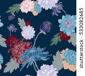 chrysanthemum vector seamless... | Shutterstock .eps vector #533082685