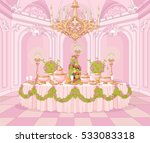 served dining table in the... | Shutterstock .eps vector #533083318