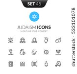 outline black icons set in thin ... | Shutterstock .eps vector #533101078