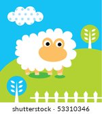 happy sheep garden | Shutterstock .eps vector #53310346