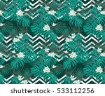 turquoise tropical leaves and... | Shutterstock .eps vector #533112256
