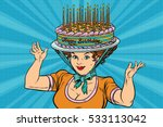 happy birthday  retro woman and ...   Shutterstock .eps vector #533113042