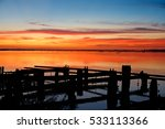 beautiful sunset on the river... | Shutterstock . vector #533113366
