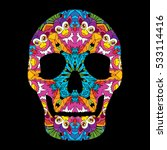 day of the dead psychedelic... | Shutterstock .eps vector #533114416