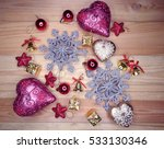 christmas background on wooden... | Shutterstock . vector #533130346