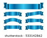 blue ribbons set. satin blank... | Shutterstock . vector #533142862