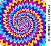 Multicolored Spirals. Motion...