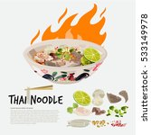 thai noodle in chicken thai... | Shutterstock .eps vector #533149978