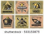 six colorful square coal mining ... | Shutterstock .eps vector #533153875
