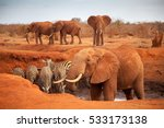big red elephants with some... | Shutterstock . vector #533173138