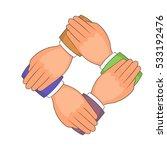 four hands icon. cartoon... | Shutterstock .eps vector #533192476