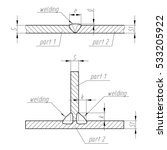 weld. scheme of two parts... | Shutterstock .eps vector #533205922
