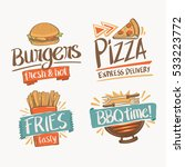 set of hand drawn food logo... | Shutterstock .eps vector #533223772