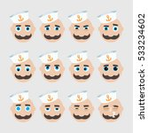 set of cute sailor emoticons.... | Shutterstock .eps vector #533234602