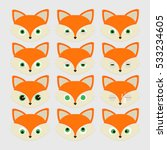 set of cute fox emoticons.... | Shutterstock .eps vector #533234605