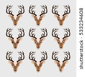 set of cute deer emoticons.... | Shutterstock .eps vector #533234608