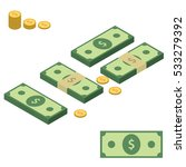 set of stacks of money.... | Shutterstock .eps vector #533279392