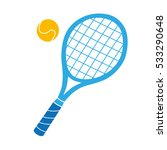 blue tennis racket and ball... | Shutterstock .eps vector #533290648