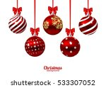 red christmas balls with bows... | Shutterstock .eps vector #533307052