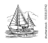 sailing boat vector sketch... | Shutterstock .eps vector #533313742