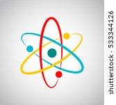 atom icon in flat design.... | Shutterstock .eps vector #533344126
