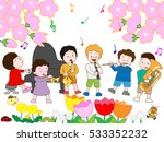 the spring concert of children. | Shutterstock .eps vector #533352232