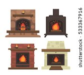Vector Set Of Home Fireplaces...