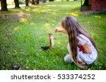 little girl feeding squirrel at ...   Shutterstock . vector #533374252