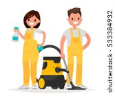 cleaning service. man and woman ... | Shutterstock .eps vector #533384932