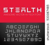 modern hi tech font. vector... | Shutterstock .eps vector #533387485