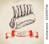 hand drawn sketch meat product. ... | Shutterstock .eps vector #533390746